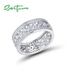 SANTUZZA. anillo de compromiso de plata para las mujeres genuino Plata de Ley 925 anillo de boda Zirconia cúbico brillante fiesta de joyería de moda