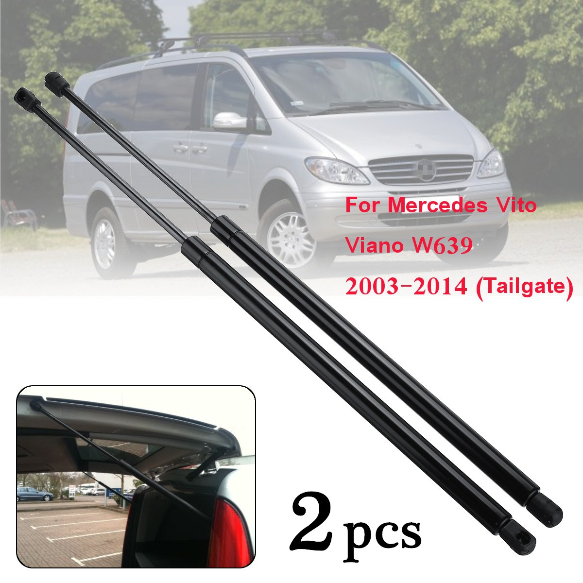 2pcs Rear Tailgate Boot Gas Struts Support Lifters For Mercedes Vito Viano  W639 2003-2014 6399800164