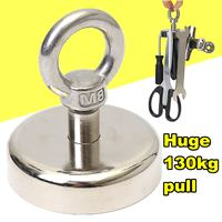 130kg D60mm Block Neodymium Magnets Magnetic Powerful Hooks Hanger Magnet Salvage Tool