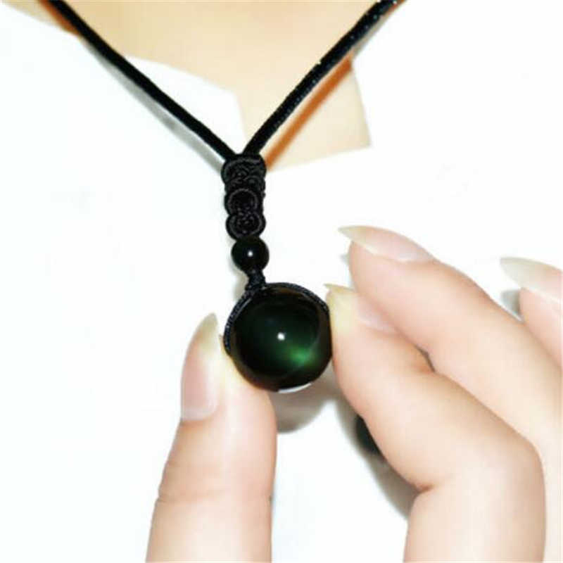 New  Rainbow Eye Ball Natural Stone Pendant Necklace Black Obsidian Transfer Lucky Love Crystal Power Necklace Jewelry