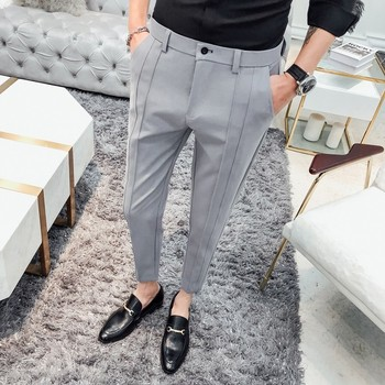 Fashion Business Stretch Suit Pant Man Luxury Brand Casual Pants Men Straight Slim Fit Formal Trousers Male Plus Size 36 Black Men's Suit Pants