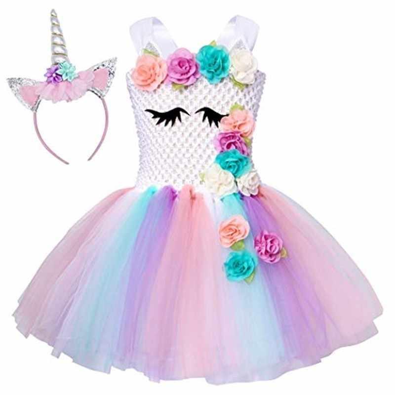 Единорог Туту платье принцессы для девочек костюмы для вечеринки в честь Дня Рождения наряды с повязкой на голову