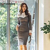 Foamlina Elegant Women Autumn Dress Sexy Patchwork Long Sleeve Slim Fit Casual Laides Work Office Knee Length Pencil Dress