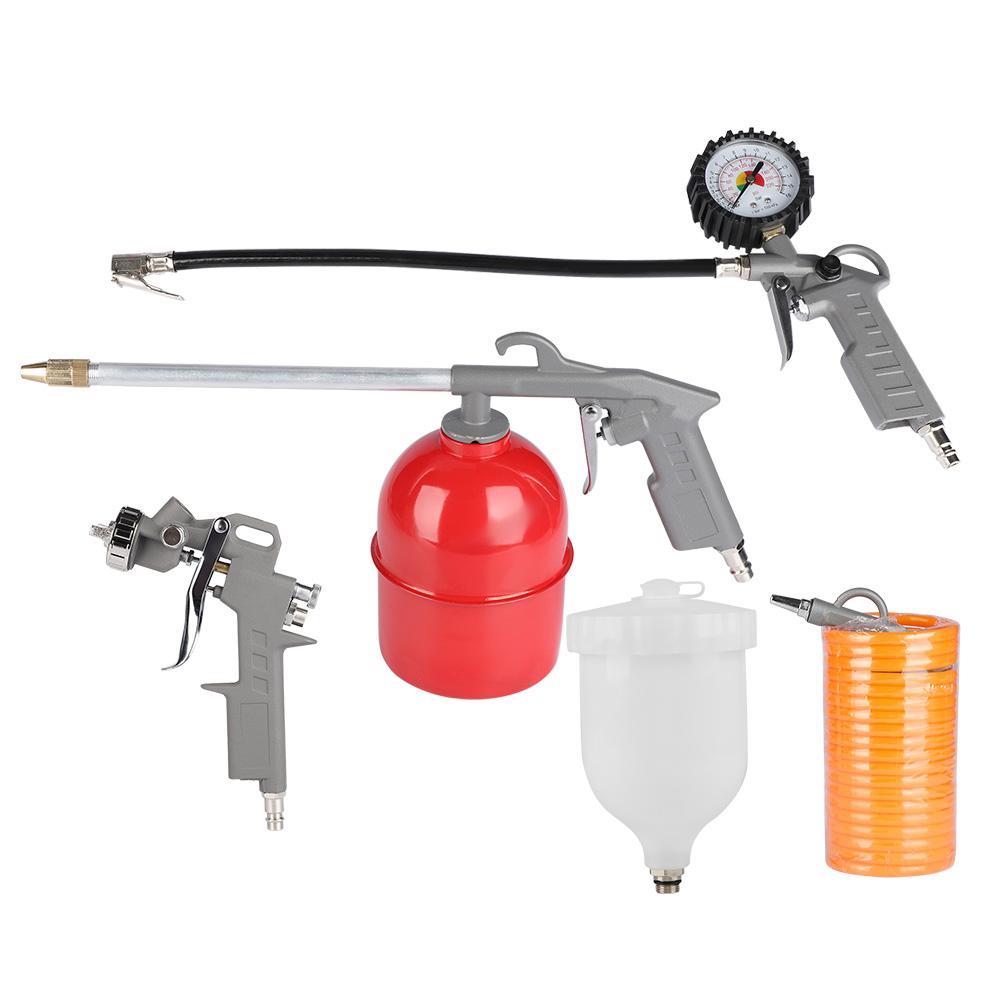 Air Compressor Accessories Spray Gun Inflator Air Blow Gun Hose Spray Paint Cleaning Kit 5Pcs