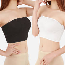 2019 Fashion Women Solid Tube Top Casual Ladies Basic Crop Strapless Padded Bandeau Bra Black White Plus Size(China)