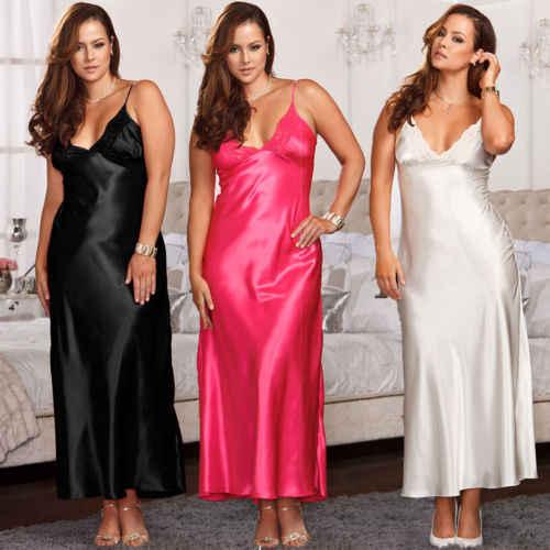 f4d06cd8573 2019 Women Sexy Nightgown Sleepshirts Lingerie Set Silk Lace Robe Maxi  Dress Babydoll Nightdress Sleepwear Solid