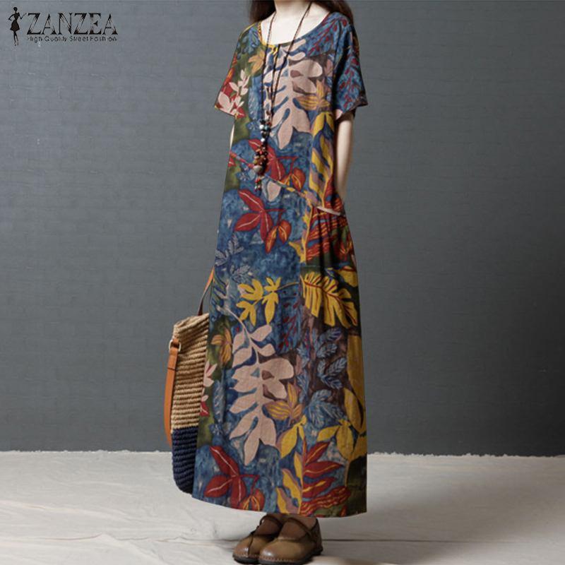 4a8da9c0716 ZANZEA длинное летнее платье платья 2019 Для женщин Повседневное с ...