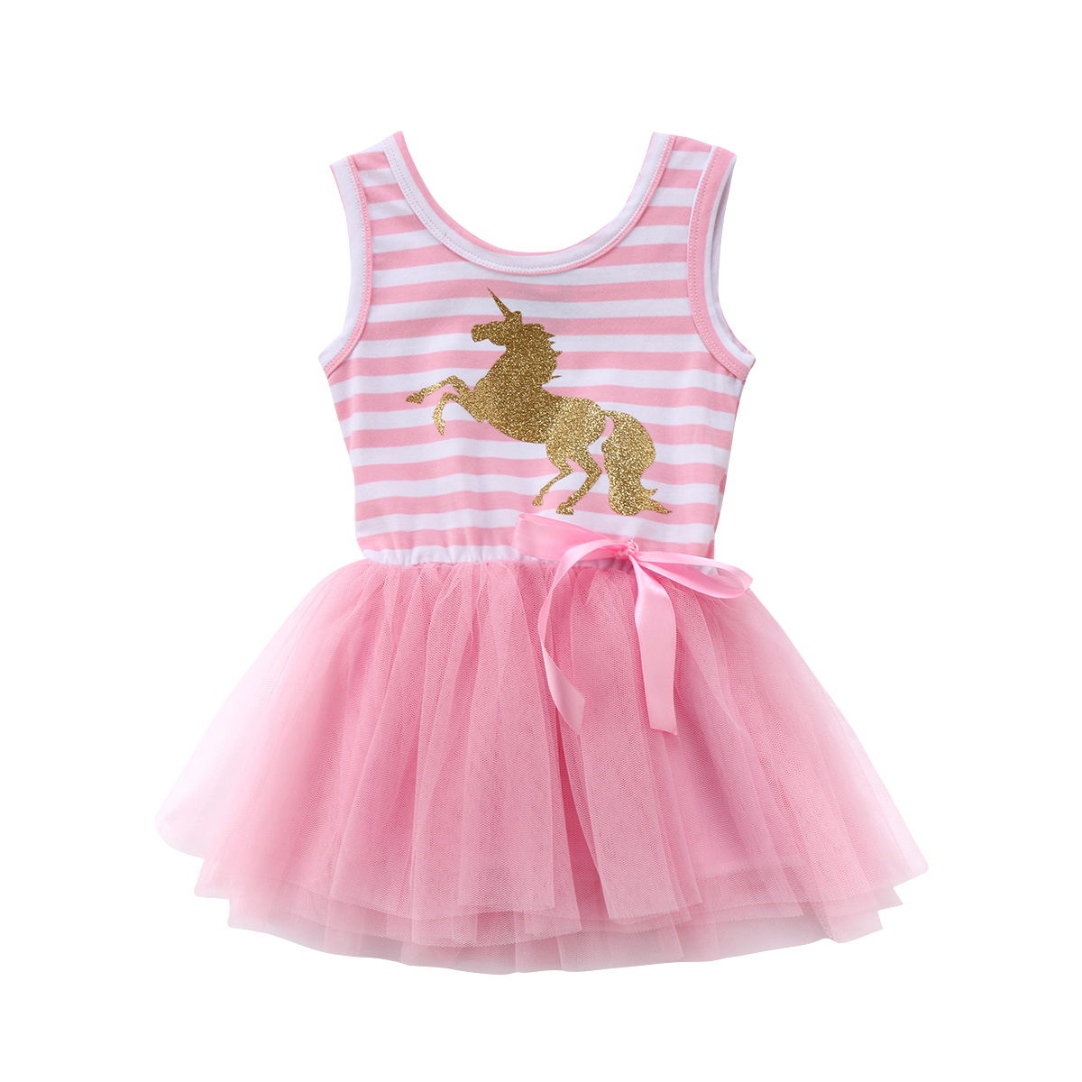Baby Dresses Unicorn Wedding-Tutu Tulle Party Striped Sleeveless