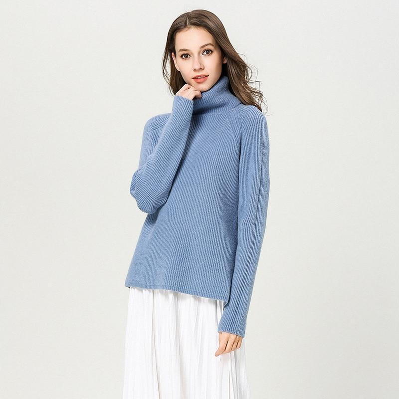 Rabbit hair blends sweater pullover damen thick winter turtleneck loose irregular split knitted sweater women pullover women1890