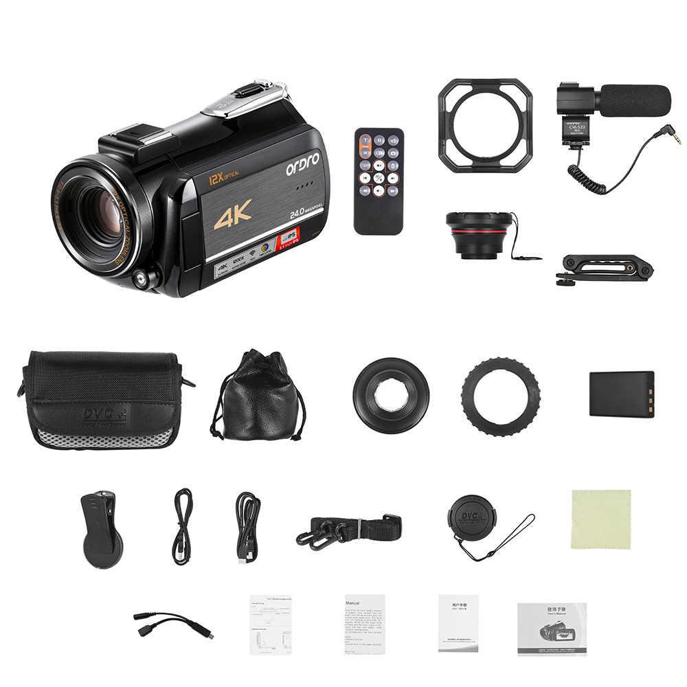 を ORDRO 4 18K WiFi デジタルビデオカメラビデオカメラレコーダー DV 24MP IPS タッチスクリーン顔検出手ぶれ補正と 2 個電池