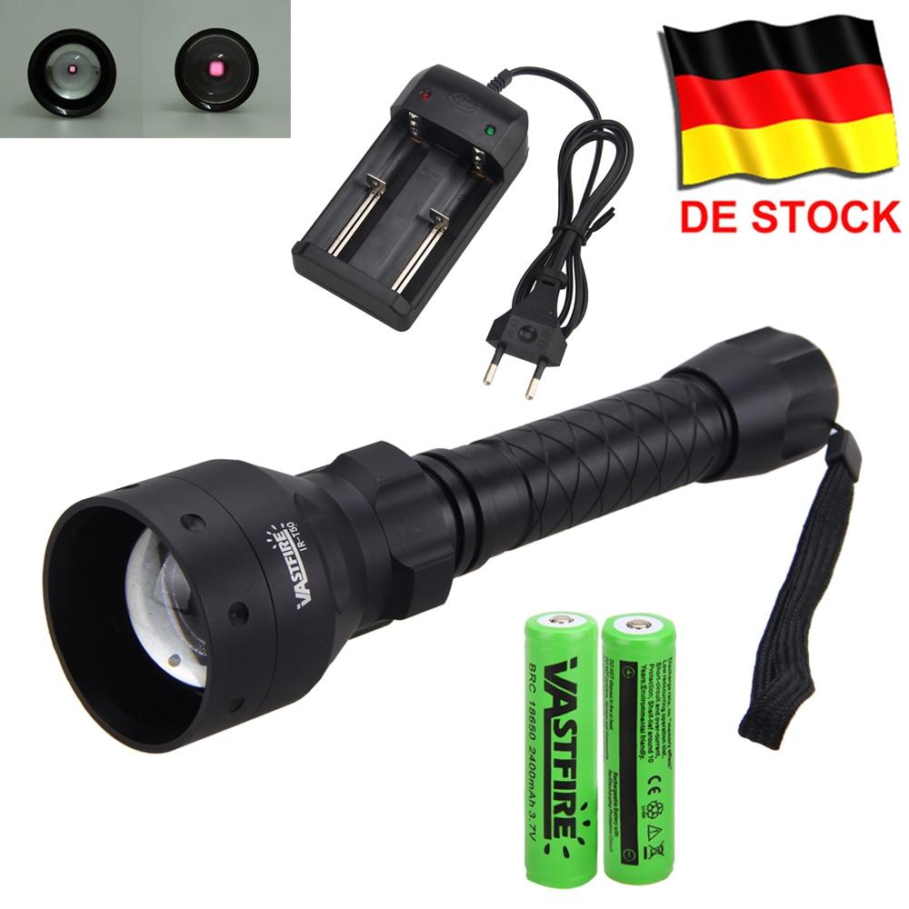 Tactical Hunting Torch IR Night Vision Adjustable Zoomable gun Infrared illuminator FlashLight Black 850nm 18650 Battery