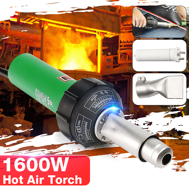 High Quality AC 220V 1600W 50/60Hz Hot Air Torch Plastic Welding-Gun For Welder + Flat Nose Wholesale Price
