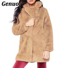 Women Autumn Winter Fluffy Thick Warm Plush Faux Fur Coat Casual Long Sleeve Turn-down Collar Pockets Jacket Plus Size Genuo