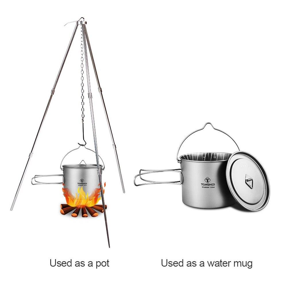 TOMSHOO 1100 ml Pot en titane Pot de Camping vaisselle en titane Pot Portable ultra-léger avec couvercle poignée pliable pour la cuisine en plein air