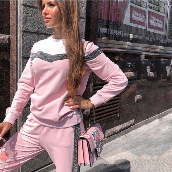 Women Tracksuit Spring Long Sleeve Pullover Sweatshirt Two Piece Set ONeck Type V Stitching Sporting Trackuit Tops and Pants Set