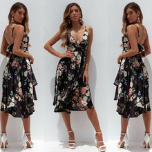 Summer Dresses 2019 New Summer Casual Women Boho Floral Dress Sexy Sleeveless Deep V-Neck Backless Strap Dresses rose backless design floral print deep v neck sleeveless dresses