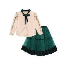 Princesa veludo chiffon 2 pçs definir idade para 4 14 anos adolescentes meninas primavera roupas de manga longa blusa + saia grande menina escola outfits