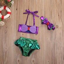 2019 Hot Infant baby girl bikini suit swimsuit fish scale cute ruffle beachwear + headscarf