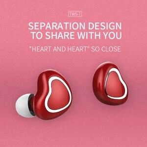 Image 2 - True Wireless Heart Earbuds Earphones TWS Stereo Bass In ear Cute Bluetooth 5.0 Earphone Pink Headset For Girl