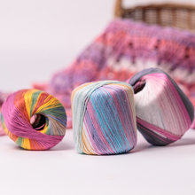 50g/ball Worsted Section-dyed Rainbow Yarn 5 ply Lace Thin Thread 100% Cotton for DIY Hand Knitting Crochet QW069