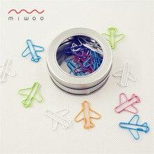 Цветные зажимы в форме самолета, 20 шт. в коробке, железная коробка, креативный зажим в форме самолета, большие зажимы для бумаги, милые зажимы для бумаги, офисные зажимы