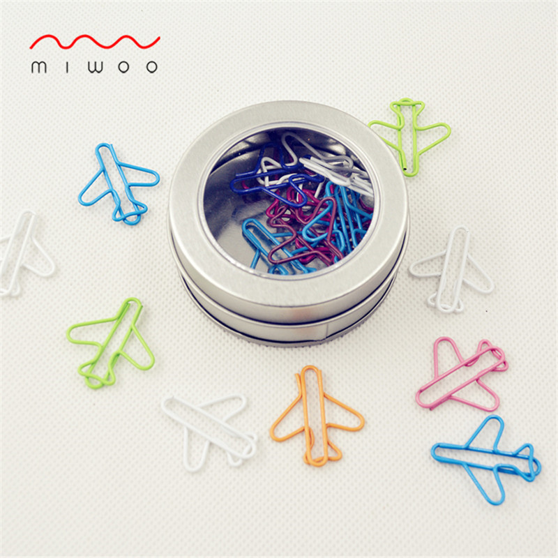 Colorful Airplane Shape Paper Clips 20pcs Per Box Iron Box Creative Plane Clip Large Paper Clips Cute Paper Clips Office Clips