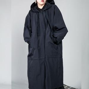 Image 3 - [Eem] 2020 yeni bahar İpli tam kollu kapşonlu yaka gevşek fermuar ince büyük boy uzun ceket kadın ceket moda gelgit OB113
