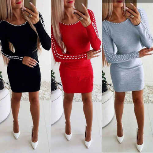 Hirigin Women Sexy Shoulder Beading Bodycon Dress Ladies Evening Party Mini A-Line Dress