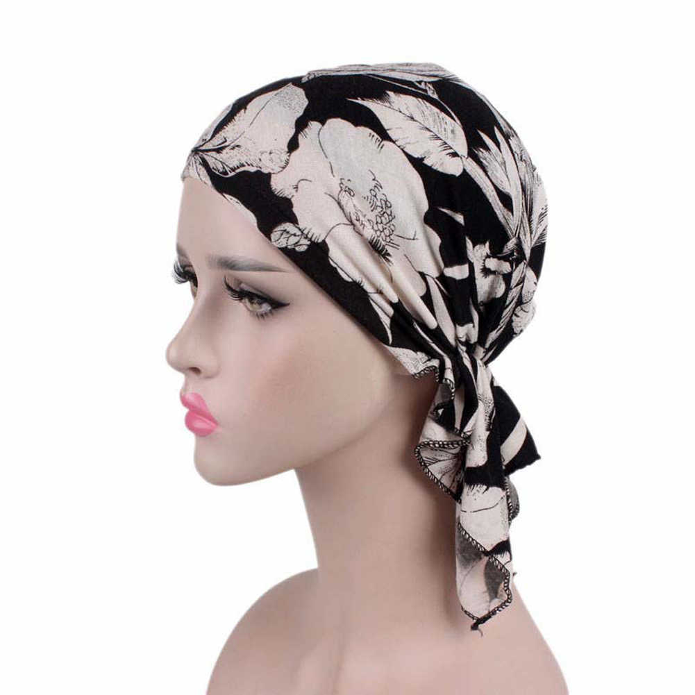 Women Muslim Stretch Turban Lace Flower Long Tail Scarf Cap Elegant Bandanas Embroidery Bead Cancer Chemo Head Wrap Scarf