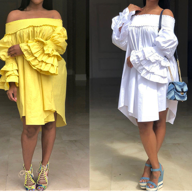 b1aae8186 Yellow Women Sexy Party Dress Elastic Slash Neck Loose Tunic Ladies Layer  Ruffles Petal Sleeve Straight Large Robes Mini Dresses