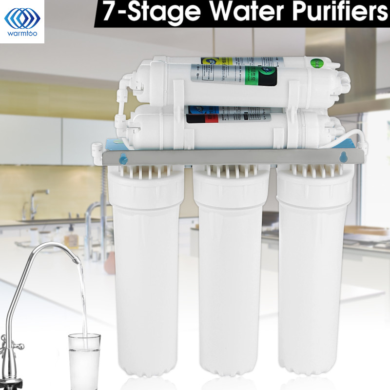 цена на 7-Stage Water Filter System With Faucet Valve Water Pipe Drinking Reverse Osmosis System RO Home Kitchen Purifier Water Filters