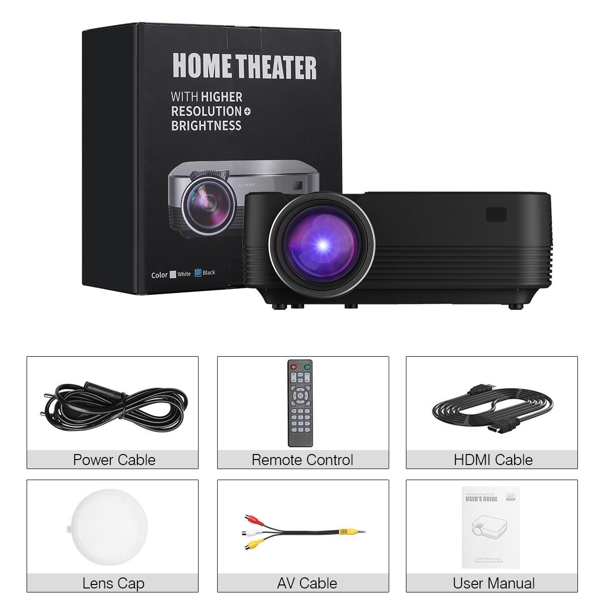 Promotion Excelvan Q6 Amélioré 4 Pouces Mini Portable 1800 Lumens 1080 P écran tactile projecteur led vidéo multimédia Pour Home Cinéma
