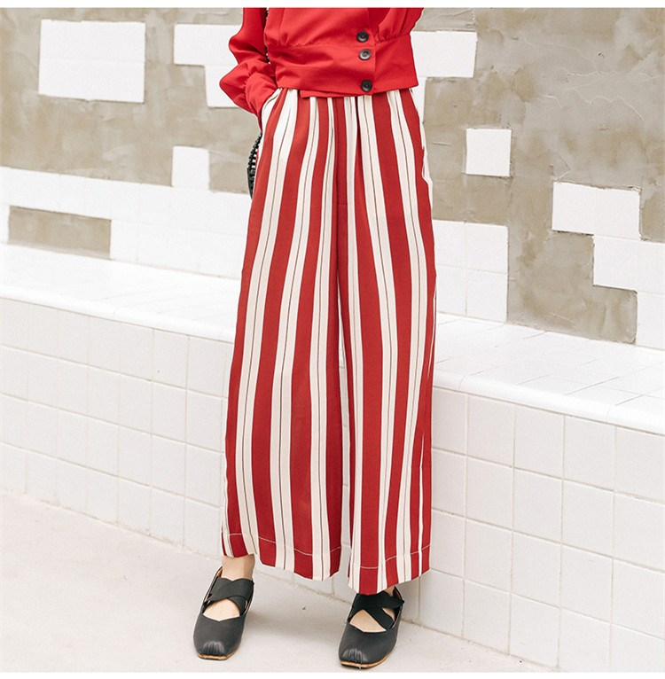 2019 Womenstreet Style Red White Striped High Waist   Pants   Summer Loose Elastic Waist Pockets   Wide     Leg     Pants