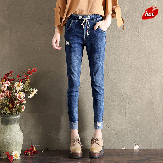 Autumn Casual Women Jeans Pant Curling Embroidery Elastic High Waist Slim Stretch Cotton Denim Trousers