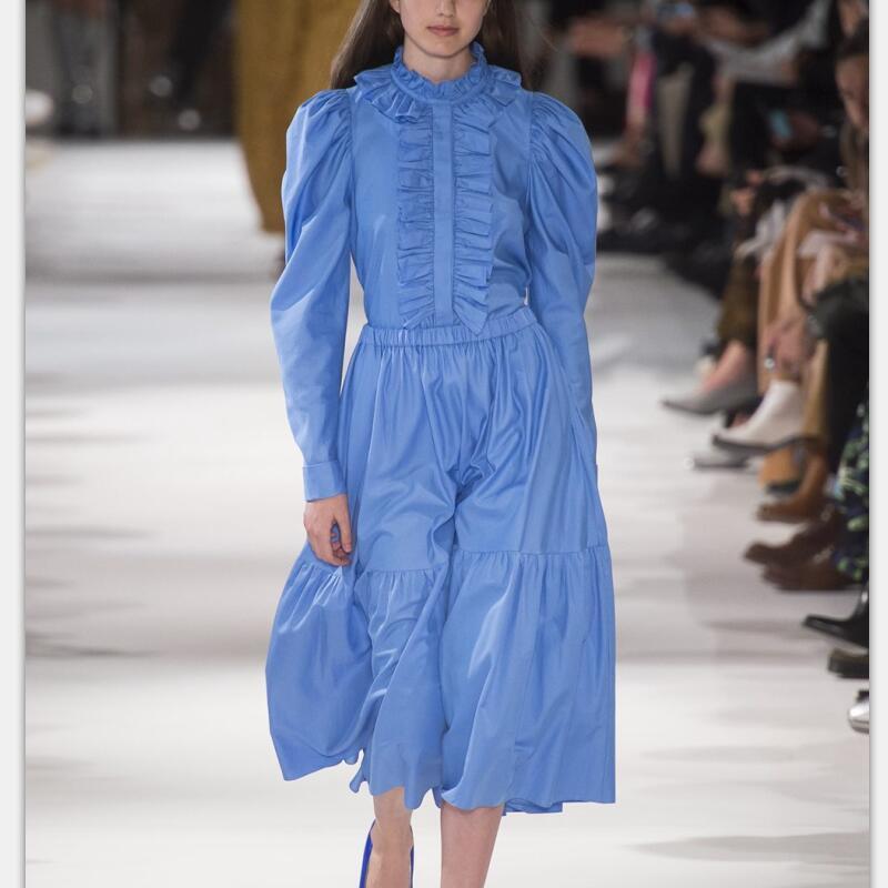 Runway Set 2018 High Quality Women Clothes Sets Spring Summer Long Sleeve Ruffles Top Shirt + Skirt Blue NPD0619