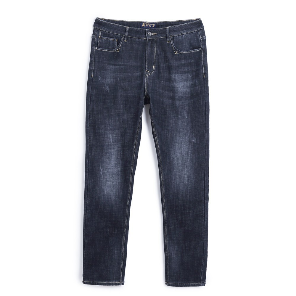 Pioneer Camp Winter Thick Jeans Men Brand Clothing Warm Fleece Inside Denim Pants Male