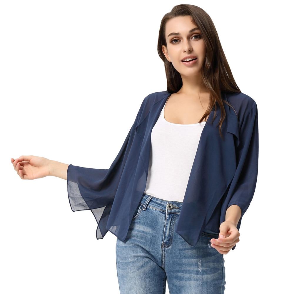 Women's Lightweight Long Sleeve Open Front See-Through Chiffon Shrug Bolero Irregular Hem Short Breathable Loose Women Coat