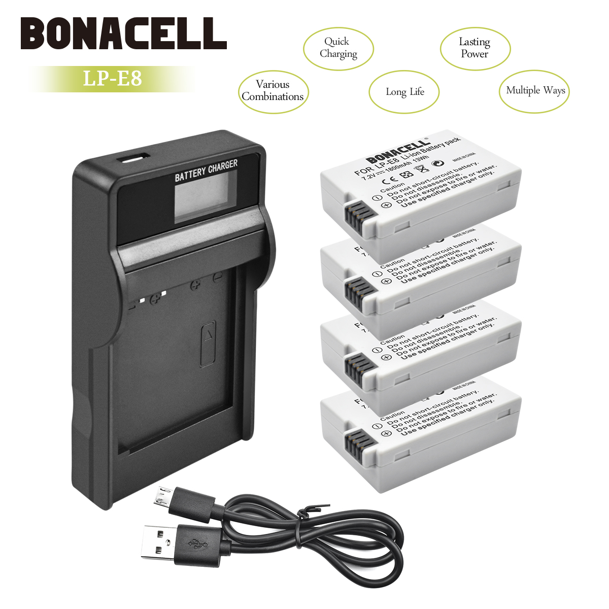 Bonacell LP-E8 LP E8 LPE8 Camera Battery+LCD Charger For Canon EOS 550D 600D 650D 700D Kiss X4 X5 X6i X7i Rebel T2i T3i T4i L10