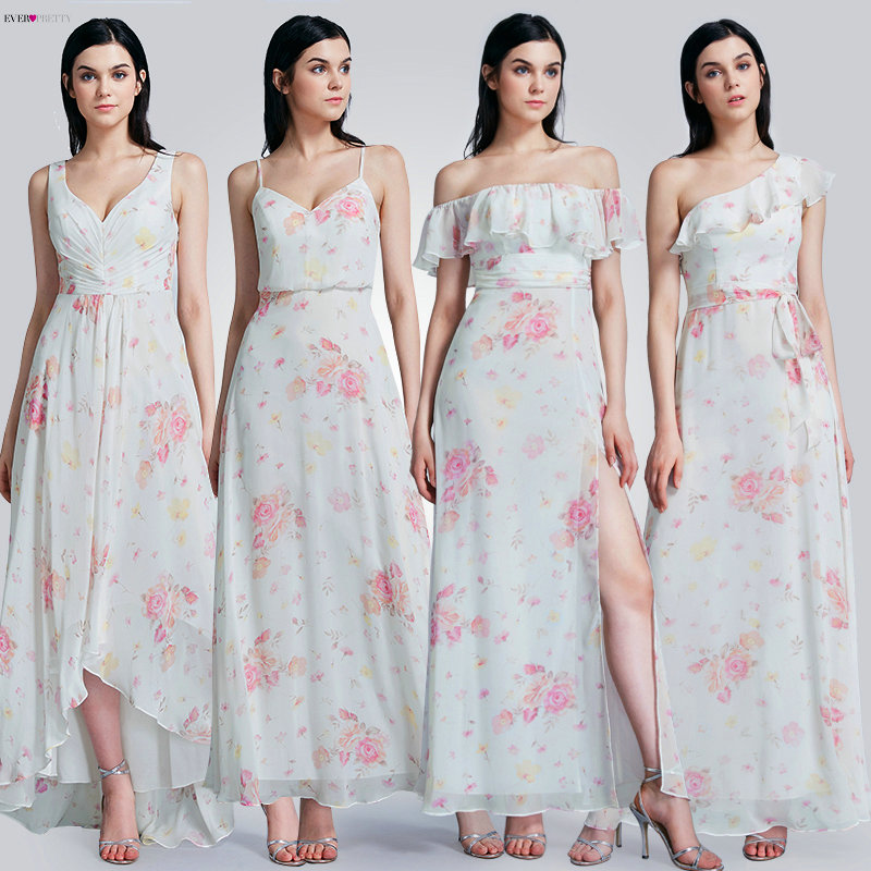 Ever Pretty Long   Prom     Dresses   2019 Ever Pretty EP07381 Sexy Floral Printed A-line Sleeveless Chiffon Cheap Wedding Party Gowns