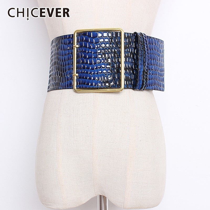 CHICEVER 2019 Autumn Winter Wide Belts For Women High Waist Hit Colors Belt Female Coat Accessories Korean Fashion Tide