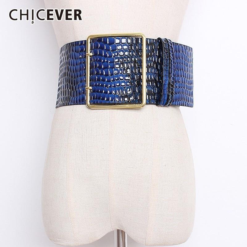 CHICEVER 2020 Autumn Winter Wide Belts For Women High Waist Hit Colors Belt Female Coat Accessories Korean Fashion Tide