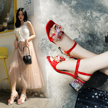 Women Sandals Gladiator Full Crystal Shoes Low Heels  Buckle Strap Flower Sweet Style
