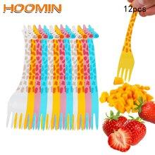 HOOMIN 12pcs/set Tableware Kitchen Tool Gadgets Fruit Snack Toothpick Cartoon Giraffe Shape Food Picks Salad Desert Forks