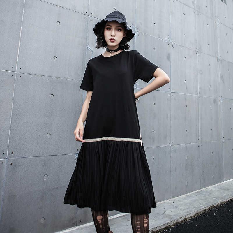 LANRMEM 2019 летняя одежда для женщин сплит-соединение плиссированный подол черное платье круглый воротник короткий рукав выше колена Одежда YH060