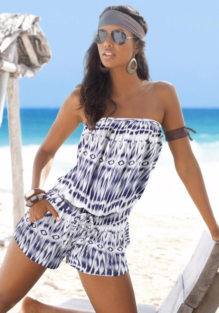 2016 Summer Sexy Elegant Jumpsuit and Rompers Ladies Beach Rompers Women Jumpsuit Fashion Bra Word Shoulder Printing Piece Pants