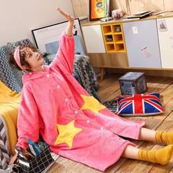 Плюс Размеры Новая женская пижама фланель халат Для женщин с шляпа звезда халат Весна Длинные и халаты