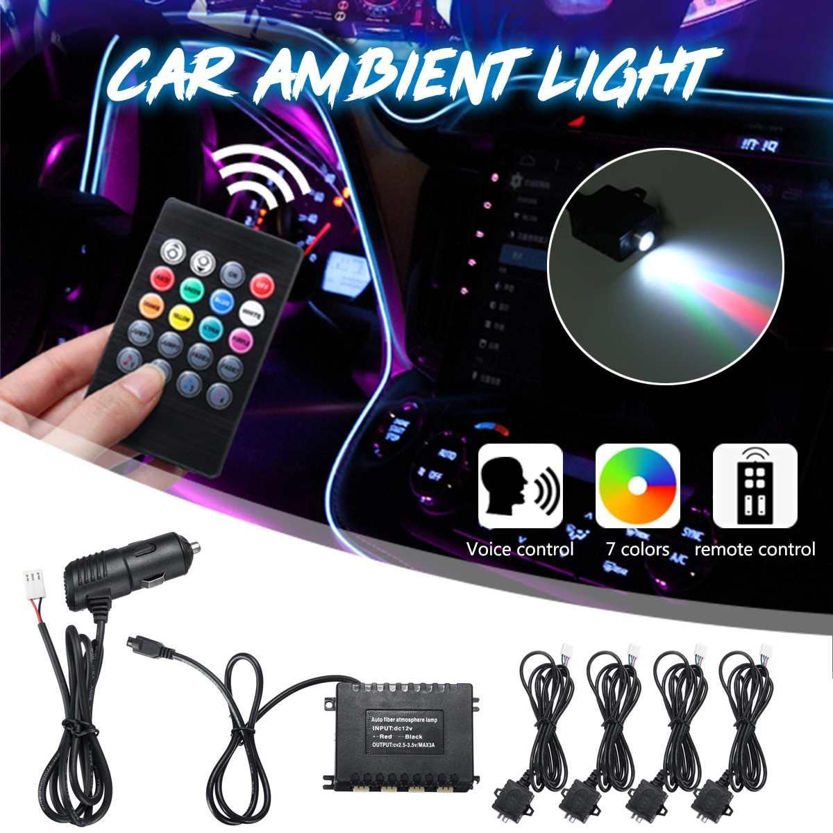 Car Light RGB Ambient Lamp 12V Fiber Optic LED Light Voice/Remote Control Interior Decorative Atmosphere Lamp Auto Accessories