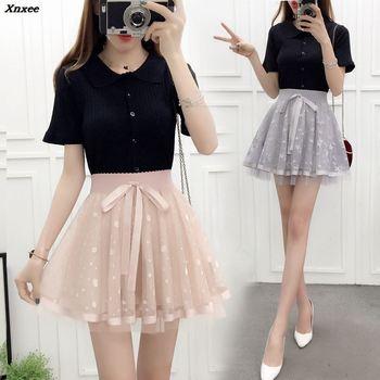 2018 New Spring Summer Women Black Mini Skirt Korean Elastic High Waist Pleated Shorts Sweet Mesh Tulle Falda Xnxee