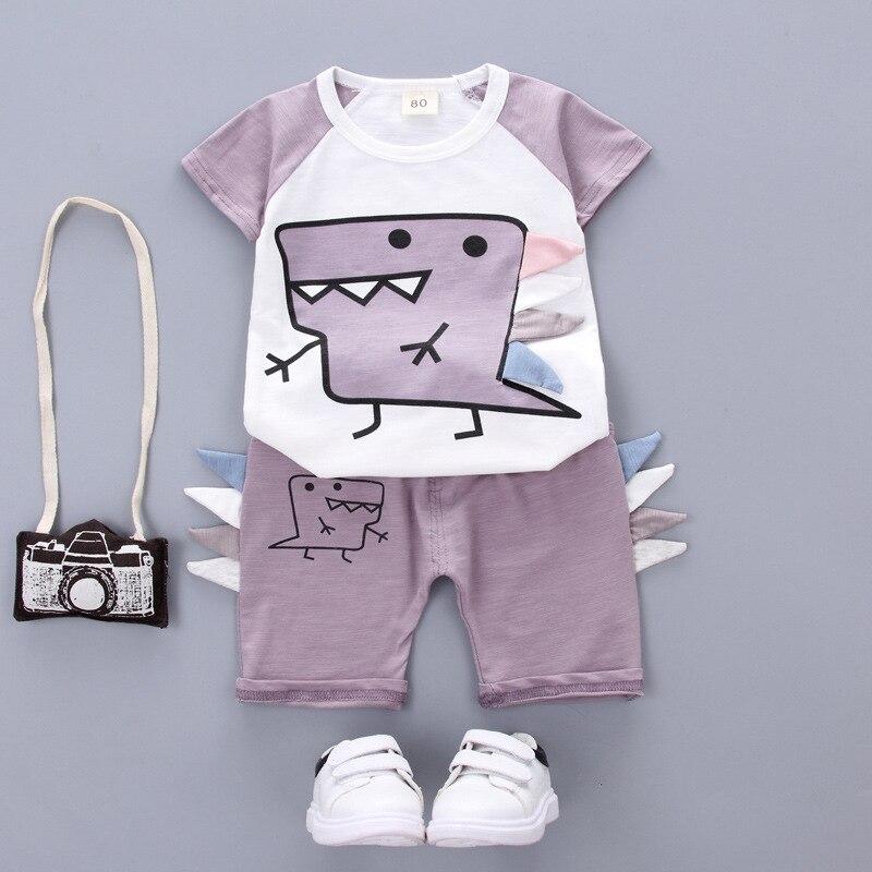 2019 Summer Children's Casual Clothing Sets Baby Boys Girls Cartoon Infant Newbrown T Shirt Dinosaur Shorts 2Pcs Suits Clothes