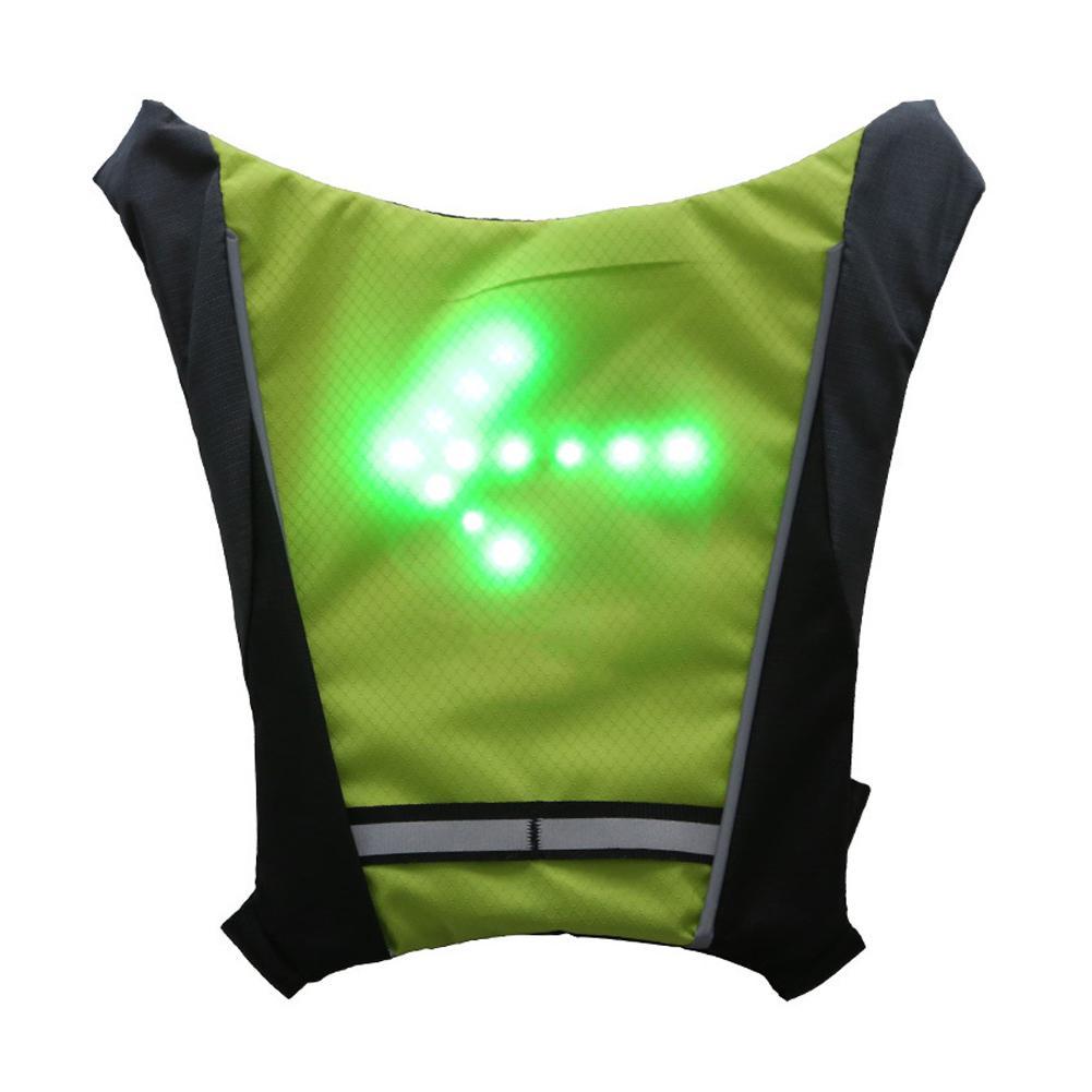 Nouveau 2019 LED sans fil cyclisme gilet 20L vtt vélo sac sécurité clignotant LED gilet vélo réfléchissant avertissement gilets avec remo